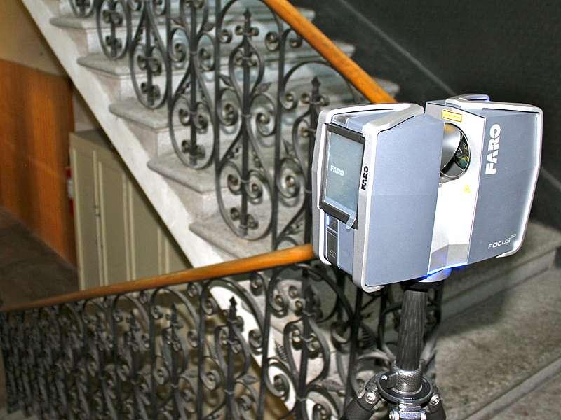 Vermessung: Treppenhaus Indoor mit Laserscanner für Baupläne von Architekten