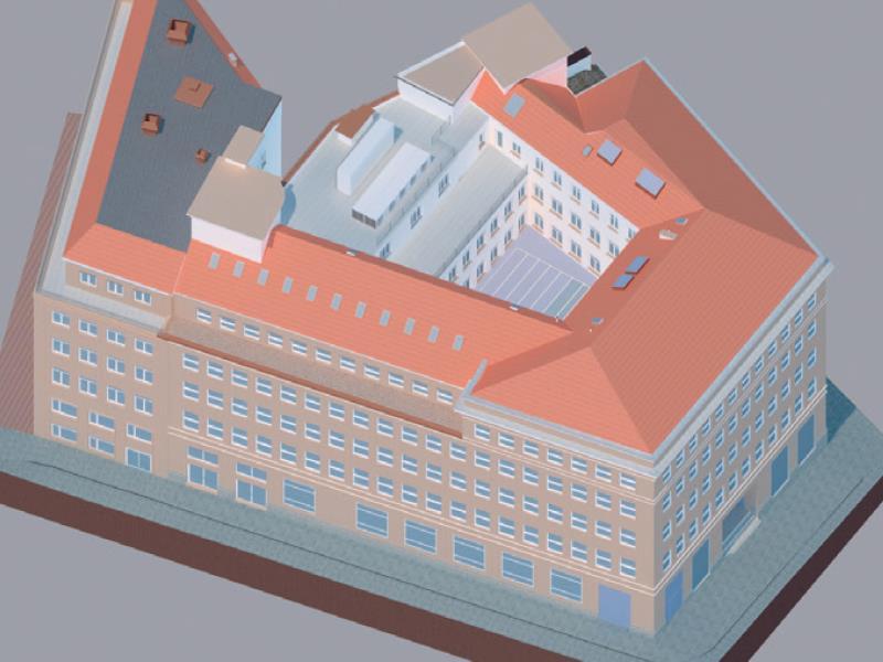 Geomatik und Vermessung: Modellierung eines Gebäudekomplexes anhand der Scanaufnahmen